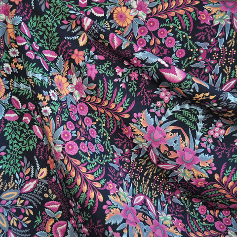 Poly Crepe Print Damask Floral Navy/Fuchsia