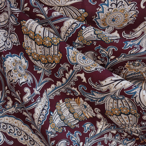 Poly Crepe Print Paisley Tapestry Wine