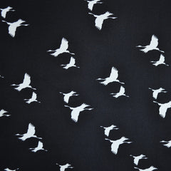 Poly Crepe Print Flying Geese Black/Ecru - Sold Out - Style Maker Fabrics