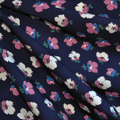 Poly Crepe Floral Navy/Rose - Sold Out - Style Maker Fabrics
