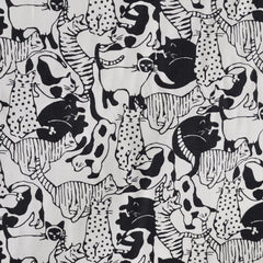 Cotton Lawn Cat Collage Charcoal - Sale - Style Maker Fabrics
