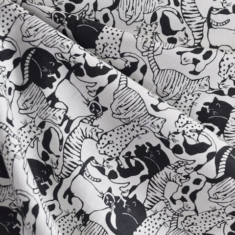 Japanese Cotton Lawn Cat Collage Charcoal SY