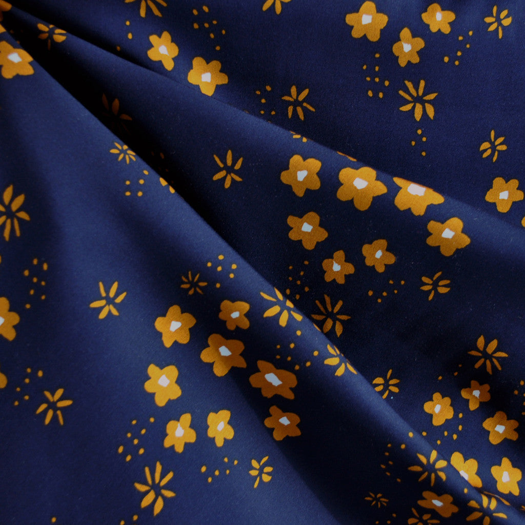 Clover Meadow Rayon Navy/Copper - Sold Out - Style Maker Fabrics
