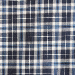 Indigo Plaid Shirting Blue/White - Fabric - Style Maker Fabrics