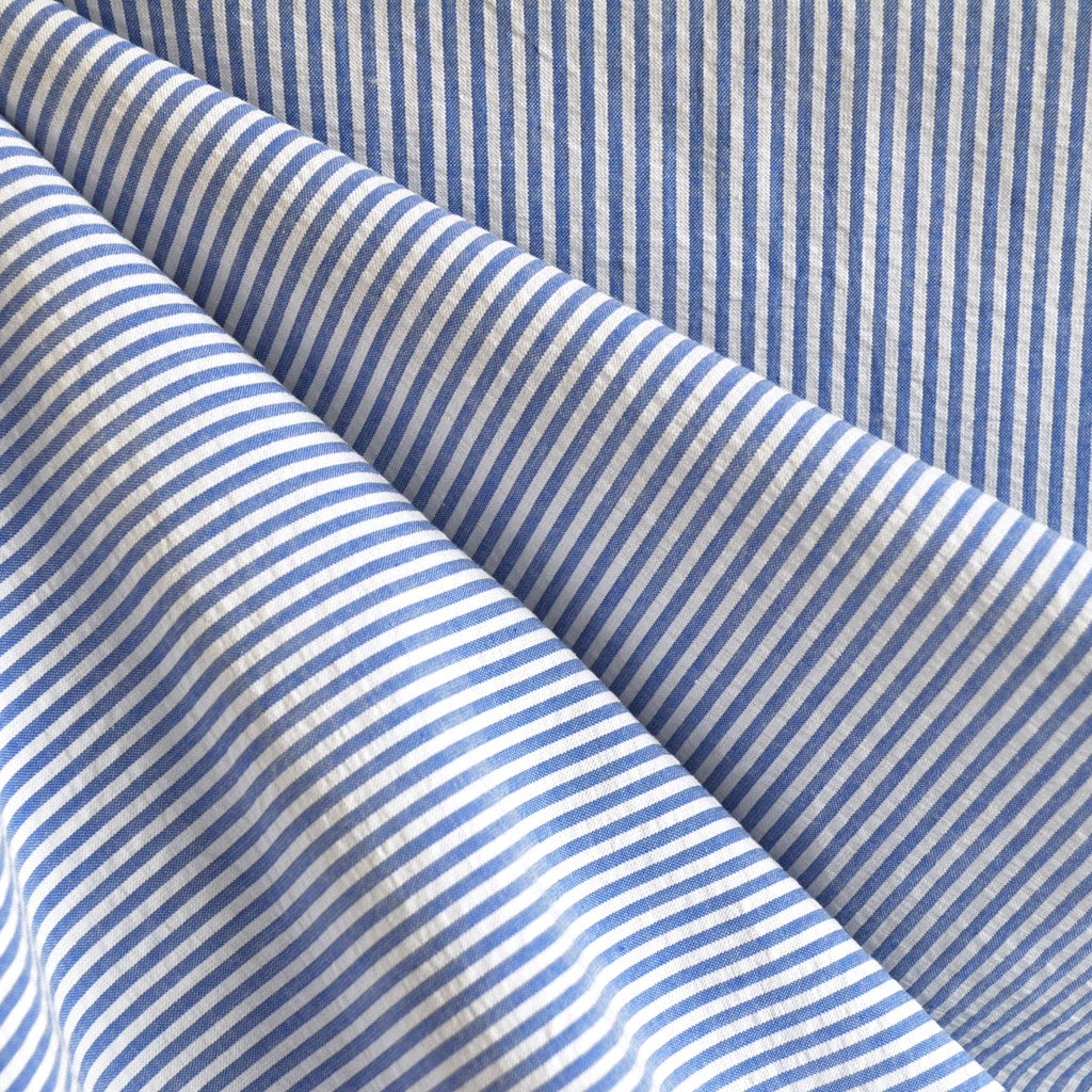 Seersucker Stripe Shirting Blue/Wht - Sold Out - Style Maker Fabrics