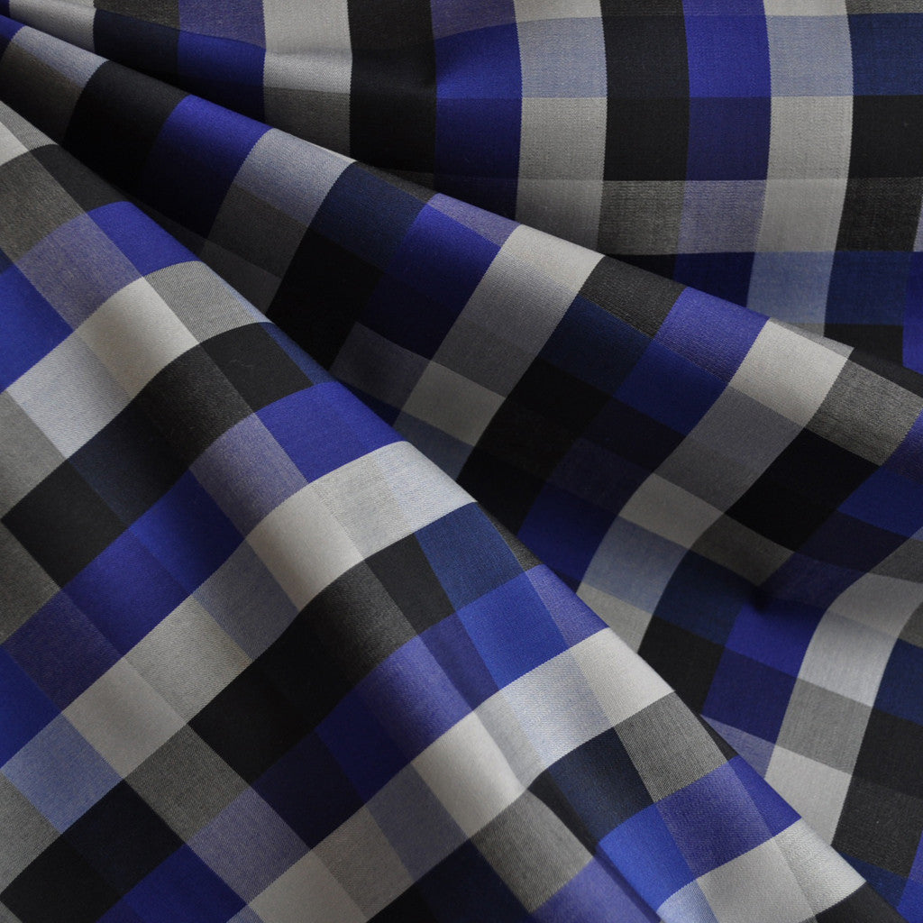 Box Plaid Fine Shirting Black/Blueberry - Sold Out - Style Maker Fabrics