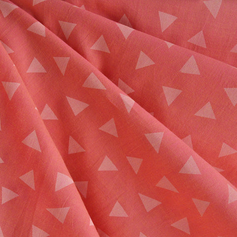 Cotton Shirting Tossed Triangles Coral