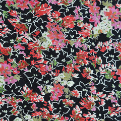 Rayon Crepe Floral Black/Coral - Fabric - Style Maker Fabrics