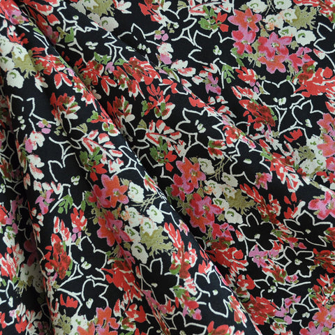 Rayon Crepe Floral Black/Coral SY