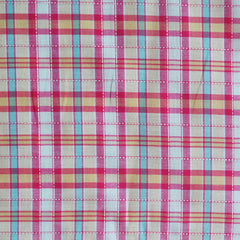 Corded Plaid Shirting Pink/Apricot - Fabric - Style Maker Fabrics