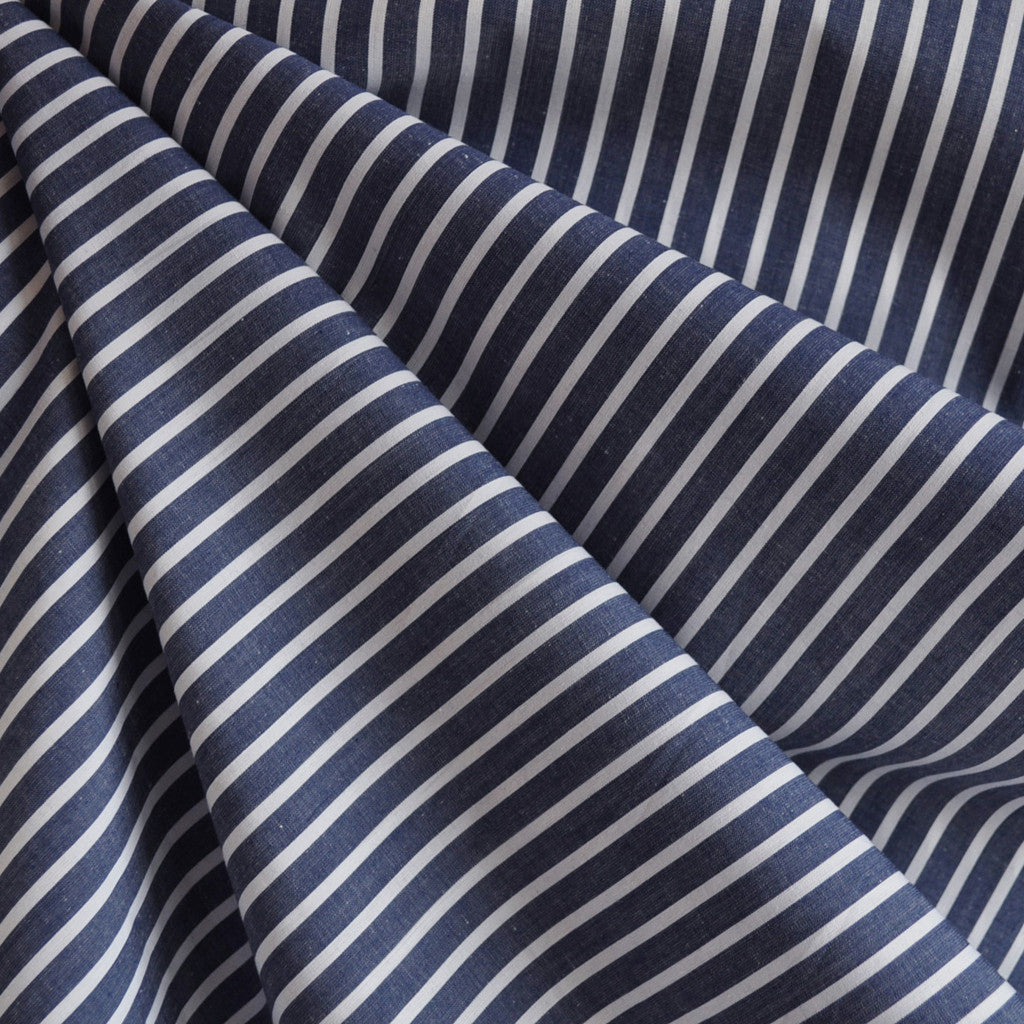 Bengal Stripe Shirting Indigo/White - Fabric - Style Maker Fabrics