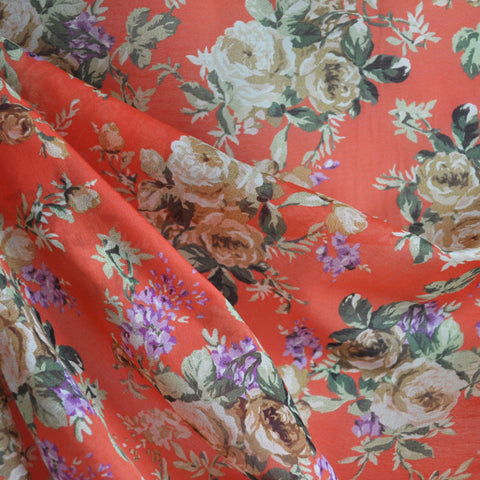 Cotton Voile Floral Bouquet Coral/Orange