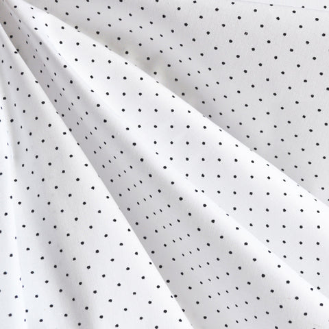 Cotton Stretch Shirting Pin Dot White/Black