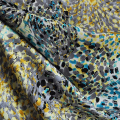 Rayon Challis Abstract Brushstroke Teal/Yellow/Grey - Fabric - Style Maker Fabrics