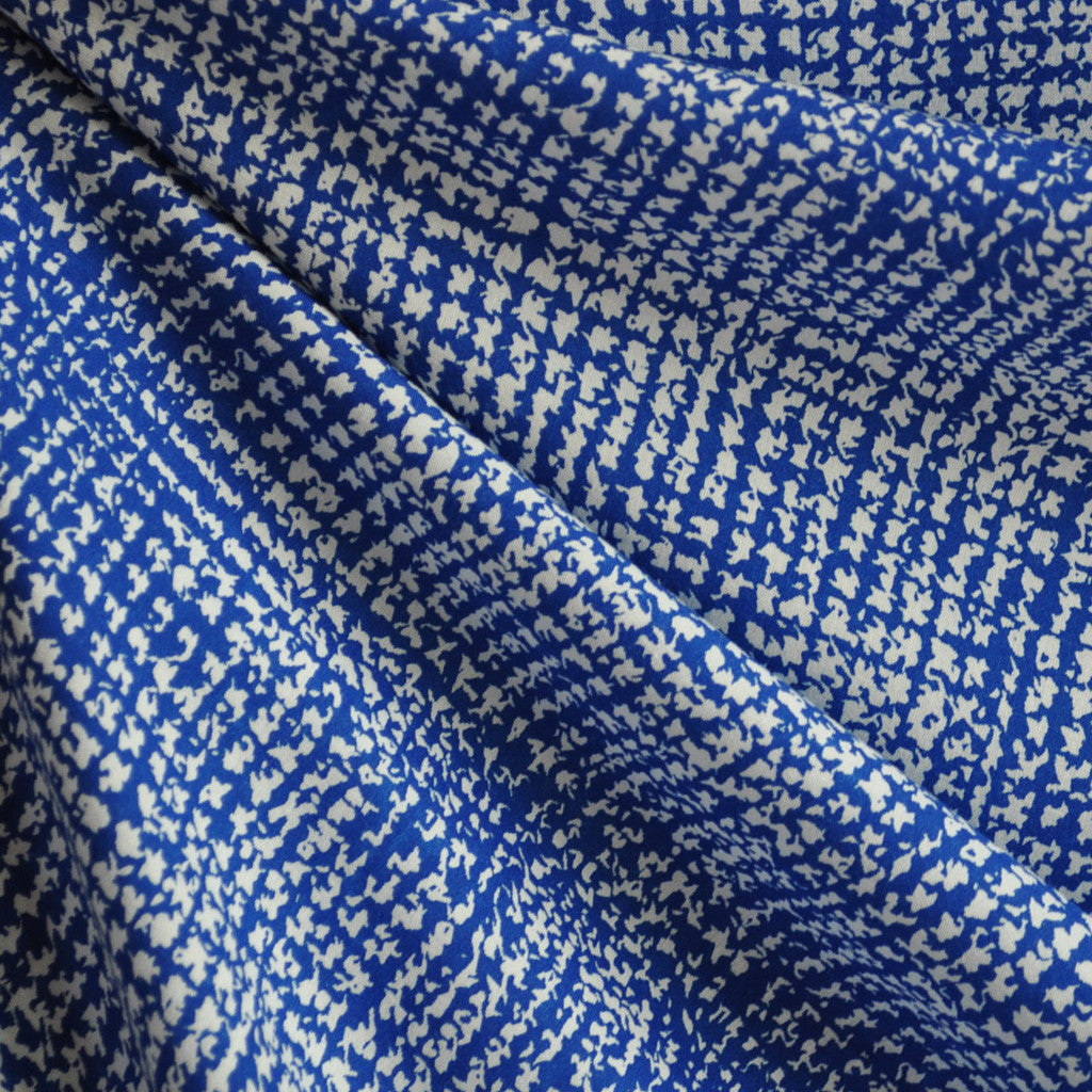 Rayon Challis Geometric Royal/White - Sold Out - Style Maker Fabrics