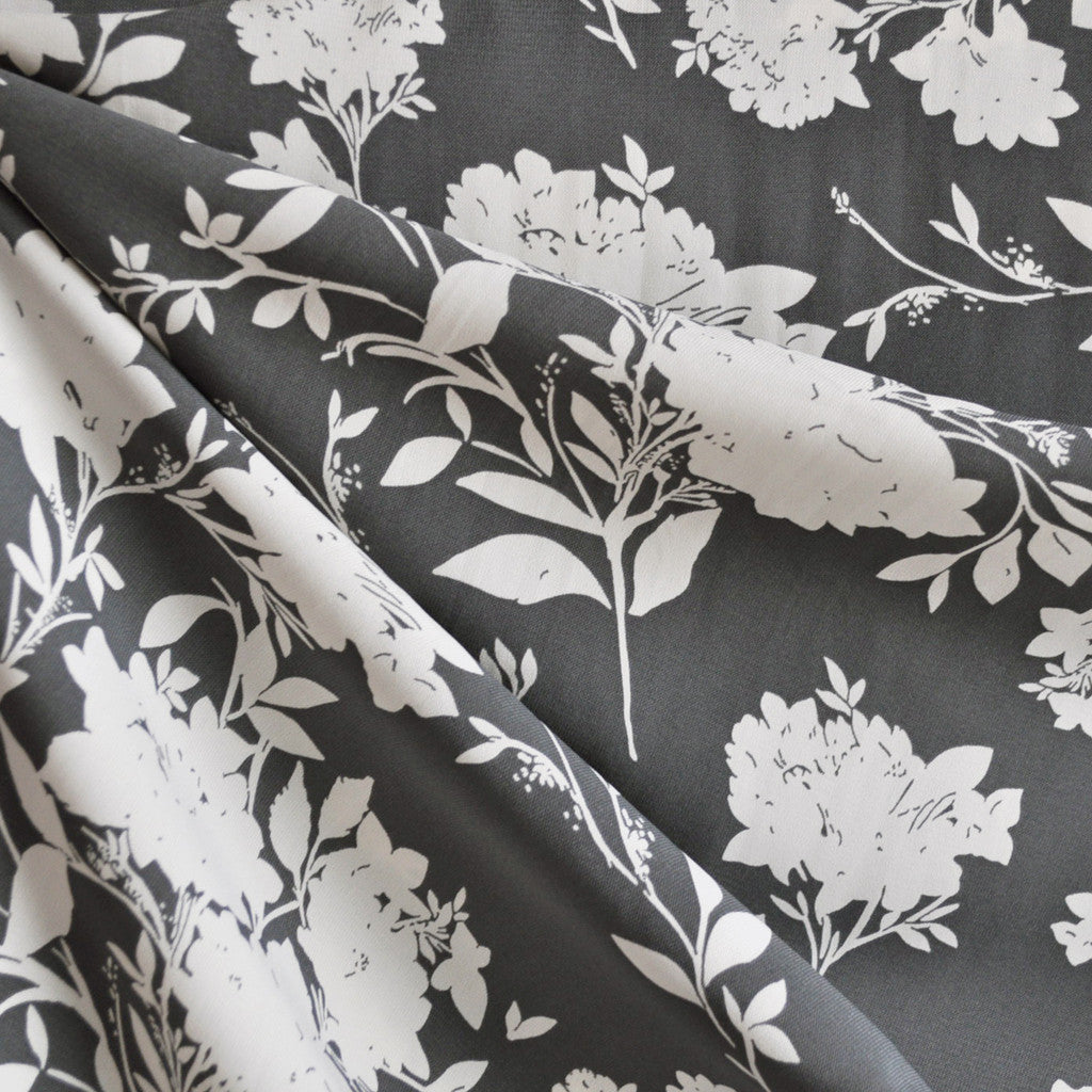 Rayon Challis Modern Floral Grey/Cream - Sold Out - Style Maker Fabrics