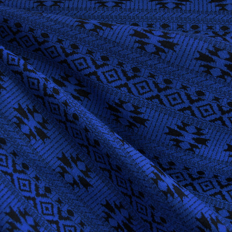 Jacquard Double Knit Geometric Royal/Black