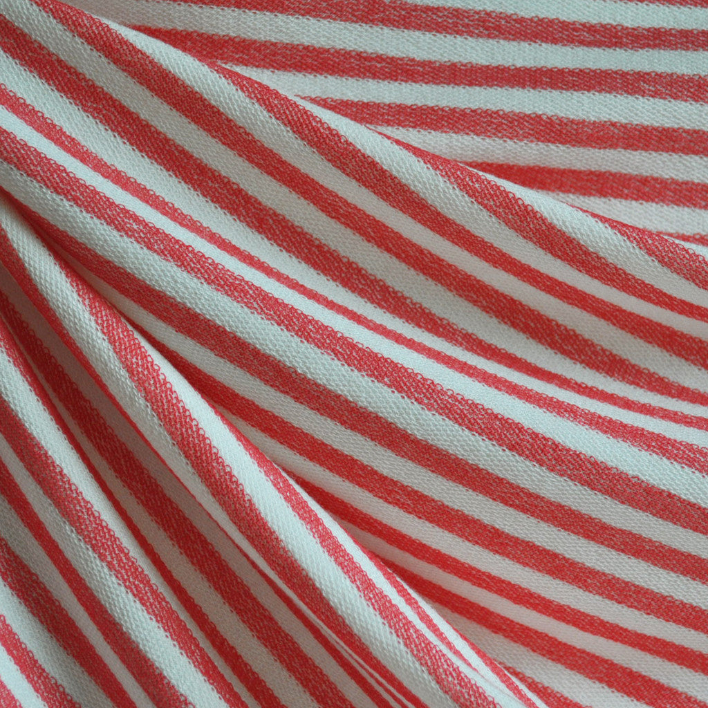 French Terry Bengal Stripe Coral/White - Fabric - Style Maker Fabrics
