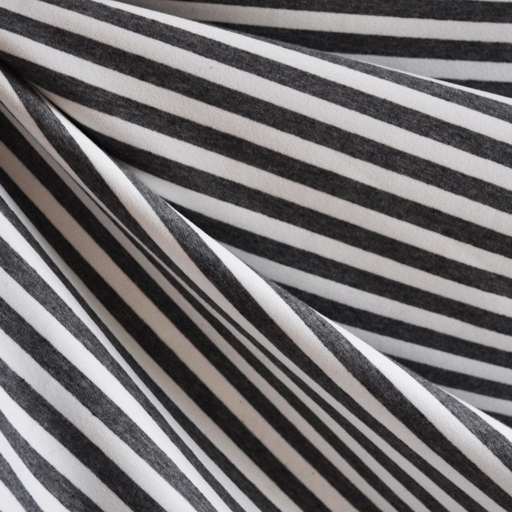 French Terry Ponte Stripe Charcoal/White   Style Maker Fabrics