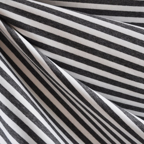 French Terry Ponte Stripe Charcoal/White