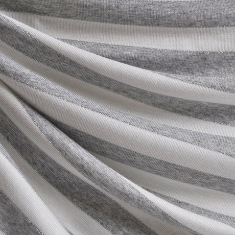 Jersey Knit Awning Stripe Grey/White/Metallic
