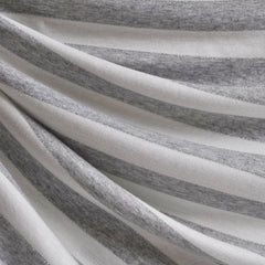 Jersey Knit Awning Stripe Grey/White/Metallic - Fabric - Style Maker Fabrics