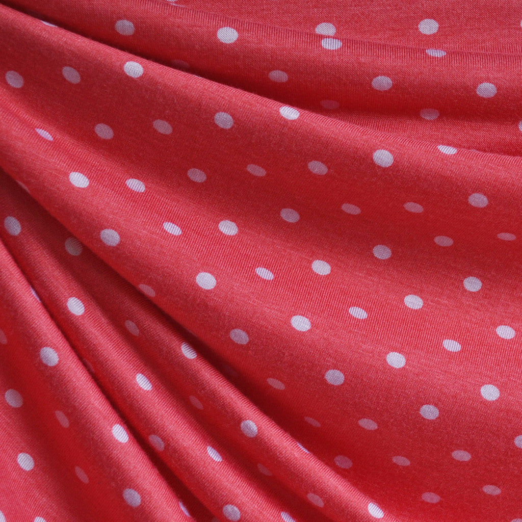 Jersey Knit Polka Dot Coral/White - Sold Out - Style Maker Fabrics