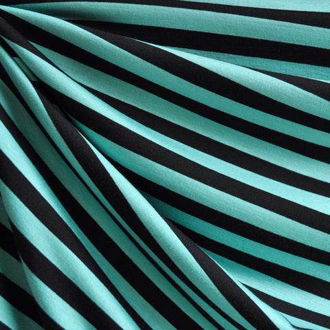 Jersey Knit Awning Stripe Jade/Black