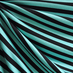 Jersey Knit Awning Stripe Jade/Black - Fabric - Style Maker Fabrics