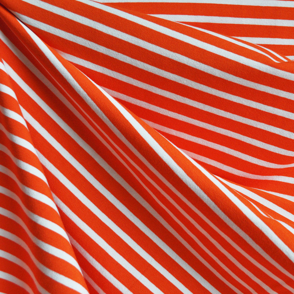 Jersey Knit Pencil Stripe Orange/White - Fabric - Style Maker Fabrics