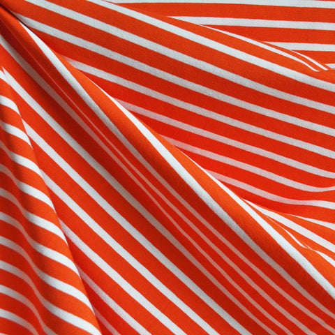 Jersey Knit Pencil Stripe Orange/White