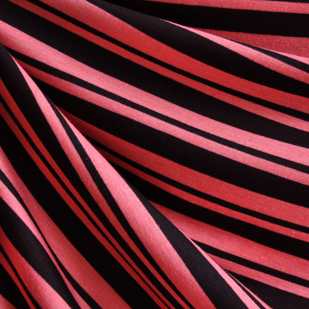 Jersey Knit Stripe Coral/Black - Fabric - Style Maker Fabrics