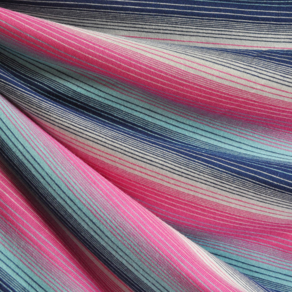 Jersey Knit Barcode Stripe Pink/Navy - Sold Out - Style Maker Fabrics