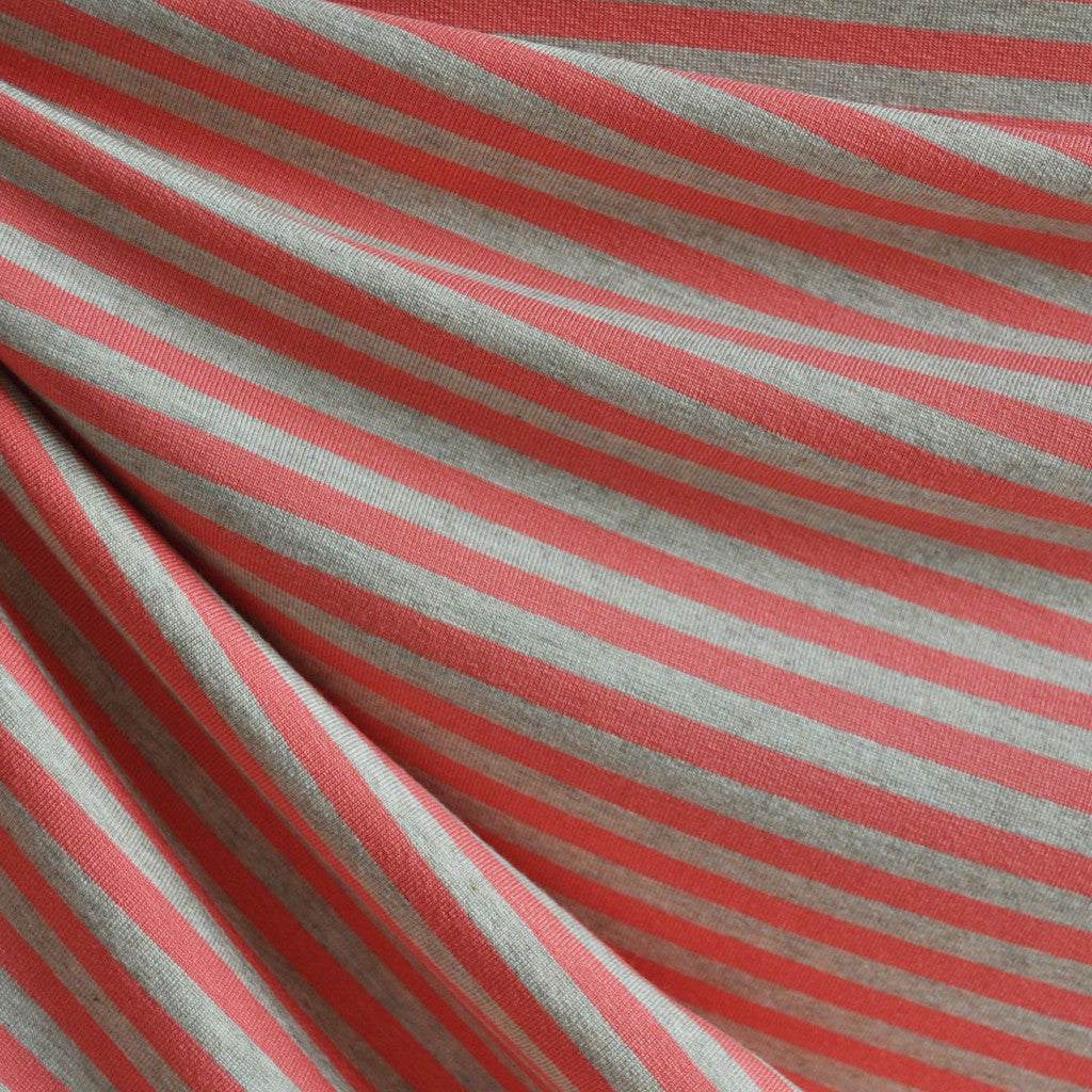 Jersey Knit Bengal Stripe Coral/Oatmeal SY - Sold Out - Style Maker Fabrics