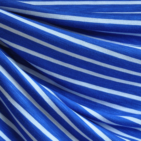 Rayon Slub Jersey Knit Stripe Royal/White SY