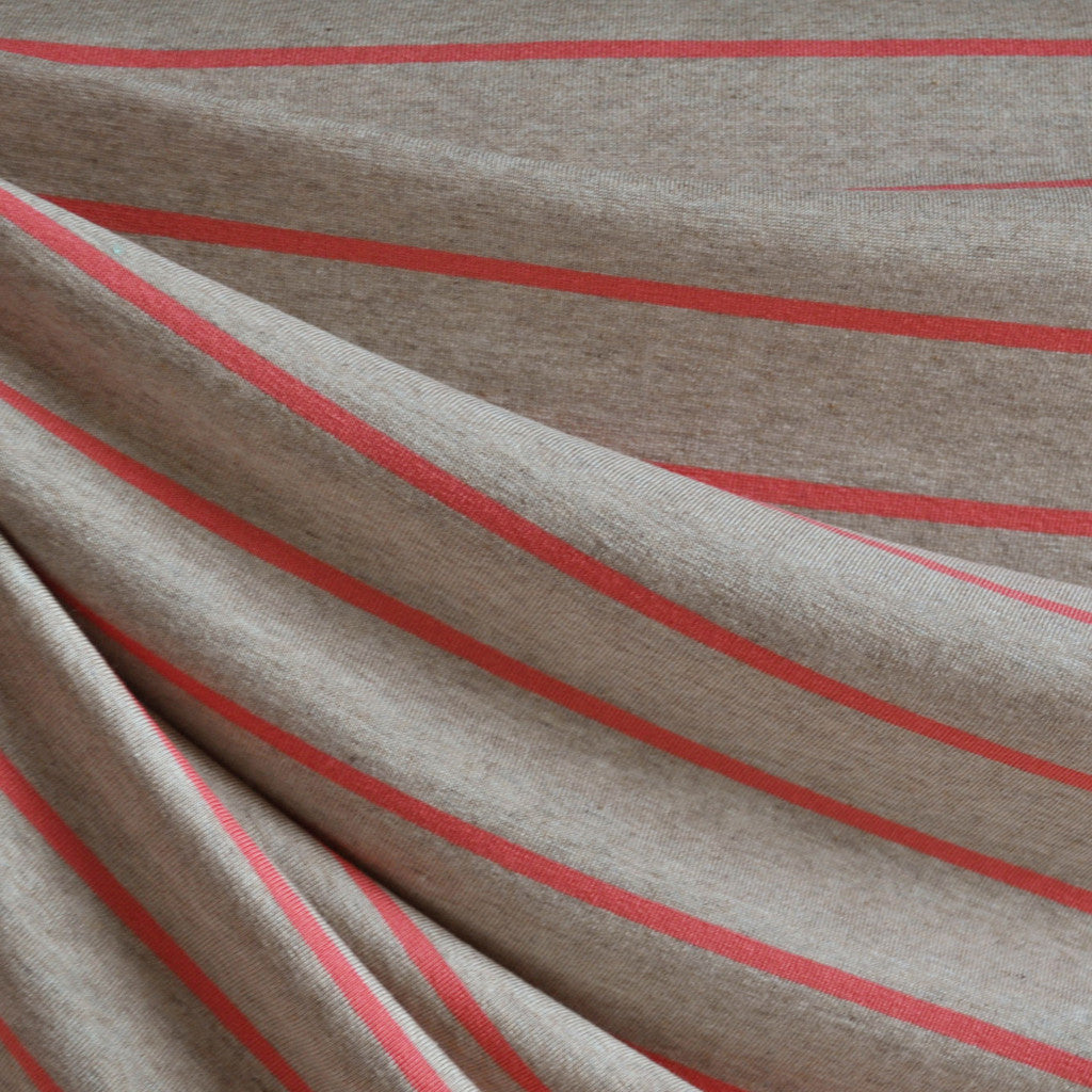 Jersey Knit Wide Stripe Oatmeal/Coral - Fabric - Style Maker Fabrics