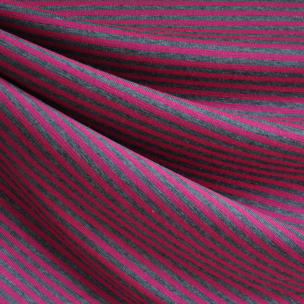 Jersey Knit Candy Stripe Magenta/Grey - Fabric - Style Maker Fabrics