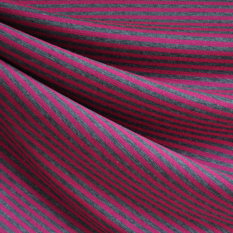 Jersey Knit Candy Stripe Magenta/Grey