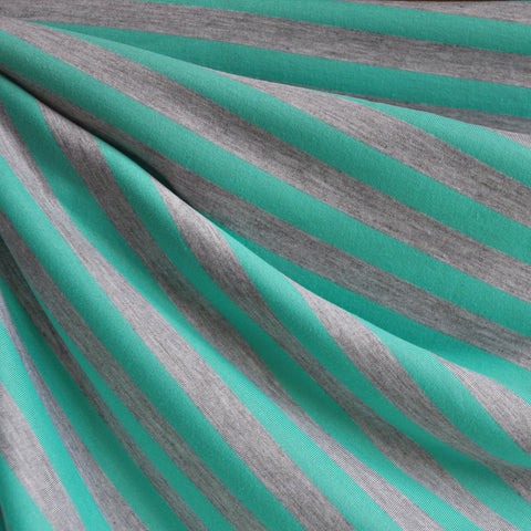 Jersey Knit Awning Stripe Jade/Light Grey