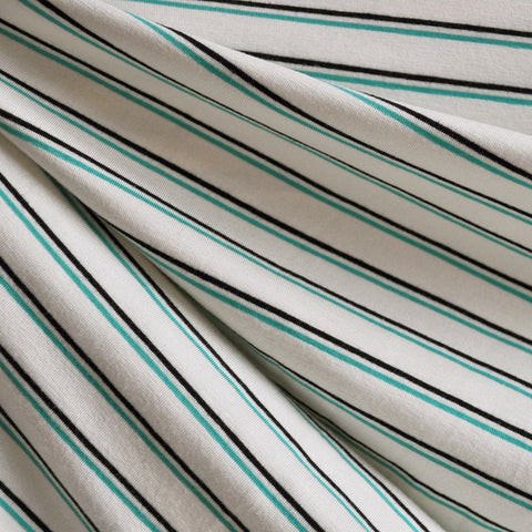 Jersey Knit Double Pin Stripe Jade/Black