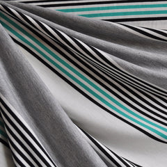 Jersey Knit Repeating Stripe Grey/Jade/Black - Sold Out - Style Maker Fabrics