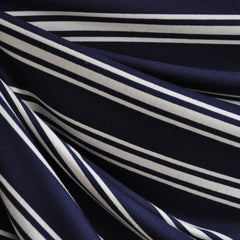 Jersey Knit Stripe Navy/Vanilla - Sold Out - Style Maker Fabrics