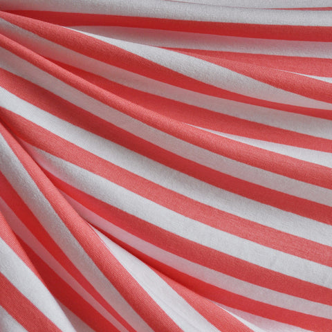 Jersey Knit Awning Stripe Peach/White