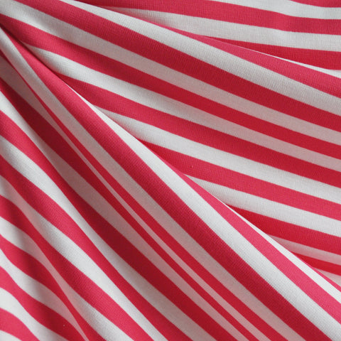Ponte Knit Awning Stripe Pink/White SY