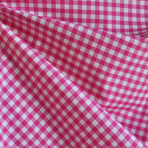Gingham Stretch Shirting Pink/White