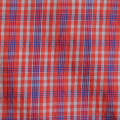 Voile Shirting Plaid Orange/Navy - Sale - Style Maker Fabrics