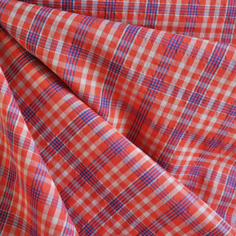 Voile Shirting Plaid Orange/Navy
