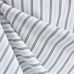Stripe Shirting White/Navy/Blue - Sale - Style Maker Fabrics