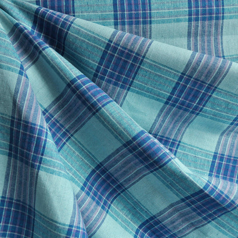 Linen Blend Shirting Madras Plaid Turq/Royal