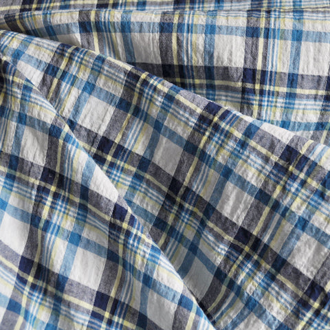 Crinkle Shirting Plaid White/Navy